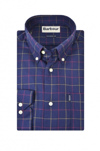 Barbour Archie Tailored Fit Long Sleeve Shirt Navy Blue Check