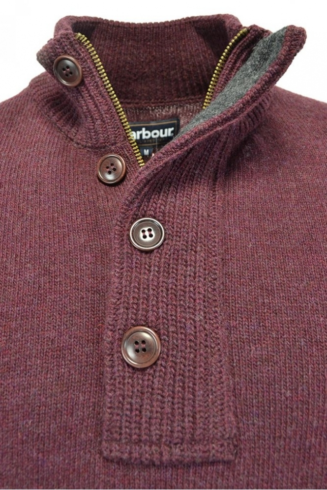 e7ea1071a465fa Barbour Patch Half Zip Jumper Burgundy - Clothing from Michael ...