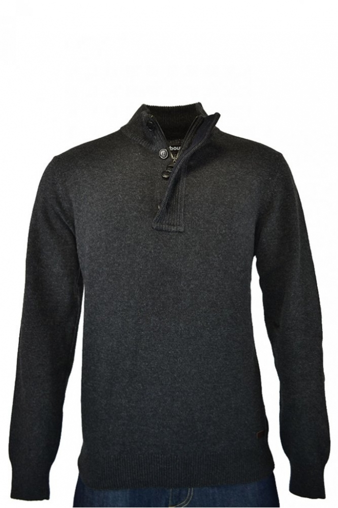 bacae4ee562991 Barbour Patch Half Zip Jumper Charcoal - Clothing from Michael ...