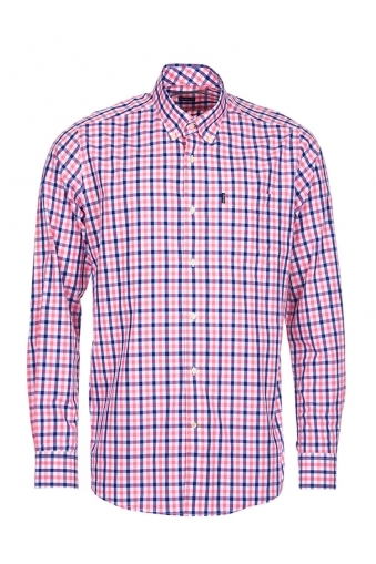 Barbour Bruce Long Sleeved Tailored Fit Shirt Pink Multi Check