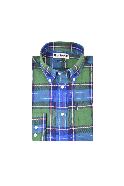 79fa82ed825ff Finley Long Sleeve Tailored Shirt Green/Blue Check