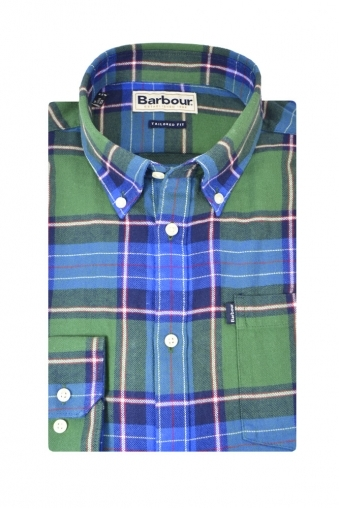 Barbour Finley Long Sleeve Tailored Shirt Green/Blue Check