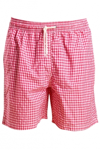 Barbour Gingham Swim Shorts Pink Check