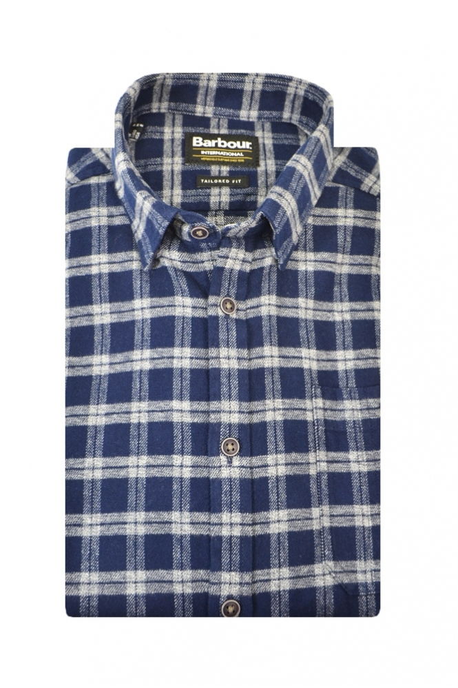 Barbour International Barbour Bumper Tailored Fit Long Sleeve Shirt Navy Multi Check