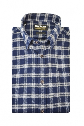 Barbour Bumper Tailored Fit Long Sleeve Shirt Navy Multi Check