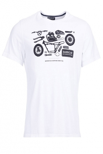 Barbour Mechanical Print T-shirt White