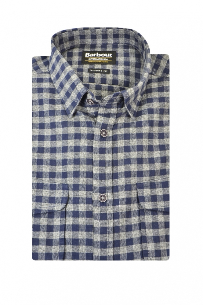 Barbour International Barbour Ratchet Tailored Fit Long Sleeve Shirt Navy Grey Check
