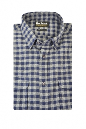 Barbour Ratchet Tailored Fit Long Sleeve Shirt Navy Grey Check