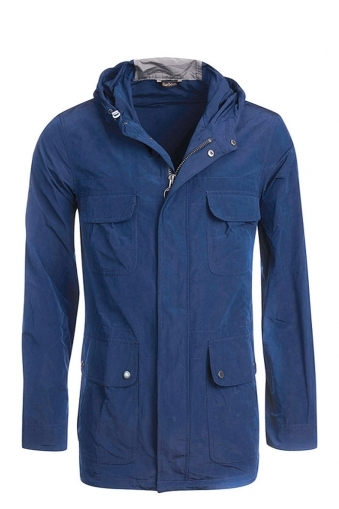 Barbour International Fishtail Coat With Hood Blue