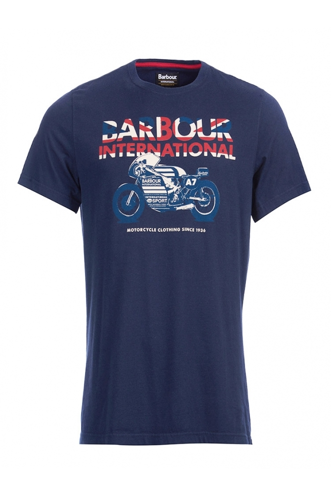 Barbour International Tailored Fit Union Racer T-shirt Navy