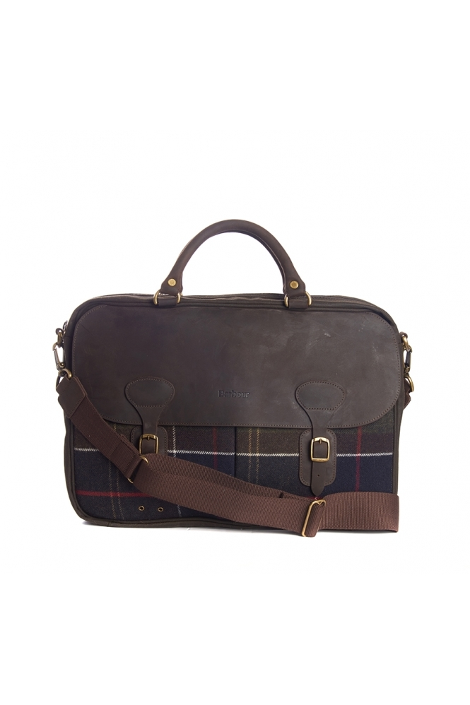 Barbour Tartan And Wax Briefcase