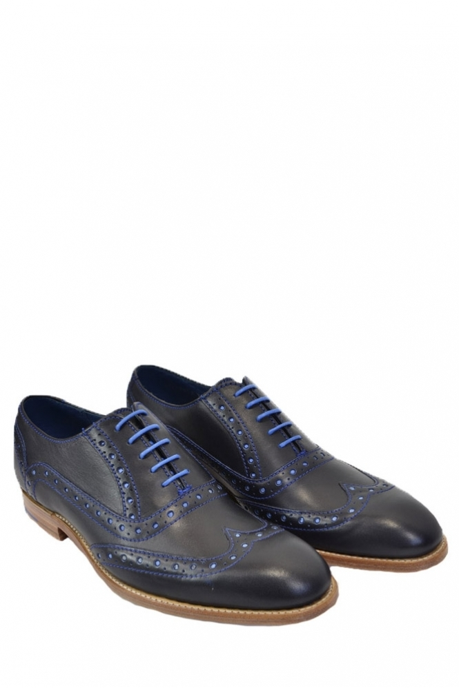 Barker Grant Navy Brogue Shoes