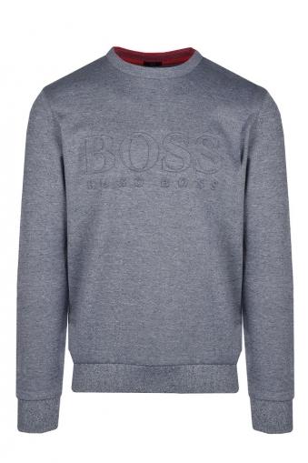 79b0296c19 Boss Big Logo Salbo Slim Fit Jumper Grey Navy Marle