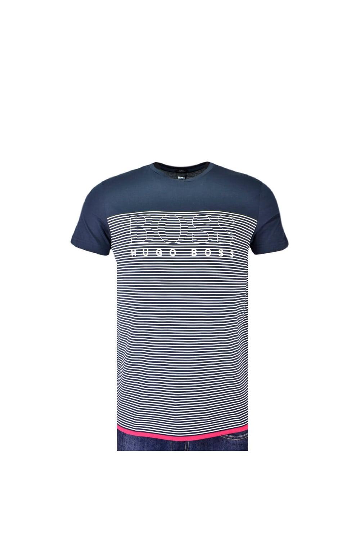 22c173418 BOSS Athleisure BOSS Teep 11 Slim Fit T-shirt Navy Stripe - Clothing ...