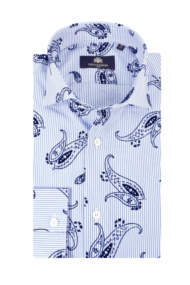 Circle Of Gentlemen Karl Long Sleeve Shirt Blue Paisley Stripe
