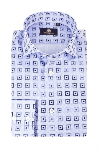 Circle Of Gentlemen Khamari Long Sleeve Shirt Blue Patterned