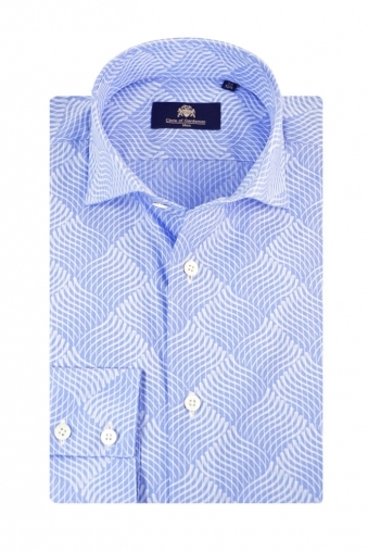 Circle Of Gentlemen Madrid Long Sleeve Shirt Sky Blue Patterned