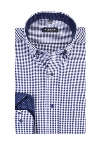 Eterna Comfort Fit Casual Long Sleeve Shirt Navy Check