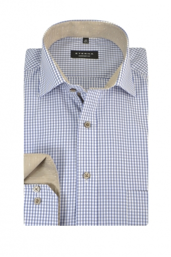 Eterna Comfort Fit Long Sleeve Casual Shirt Blue/Tan Check