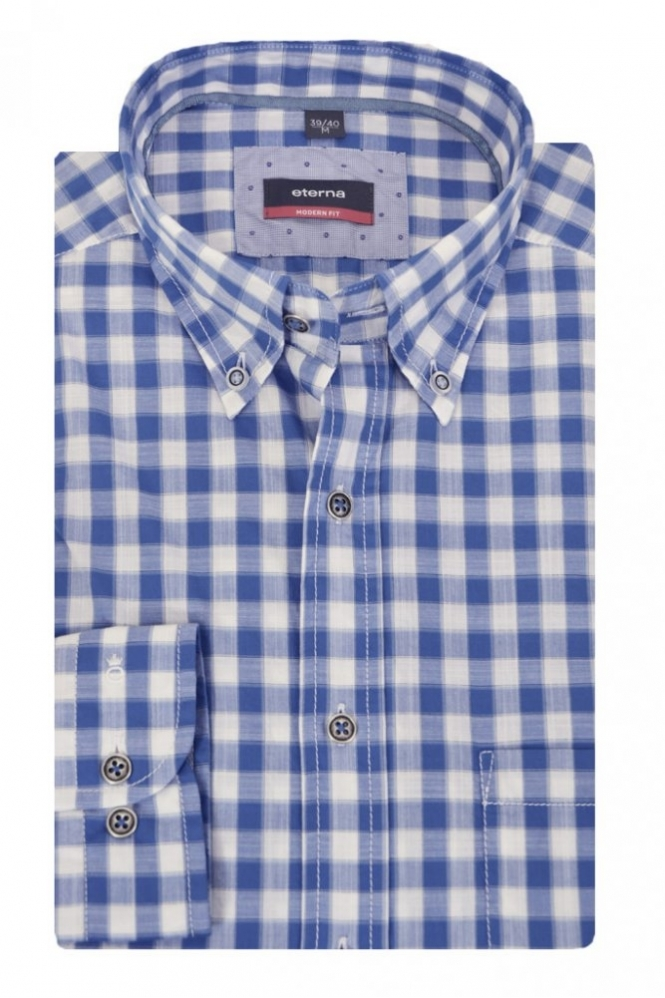 Eterna Casual Eterna Long Sleeve Check Shirt