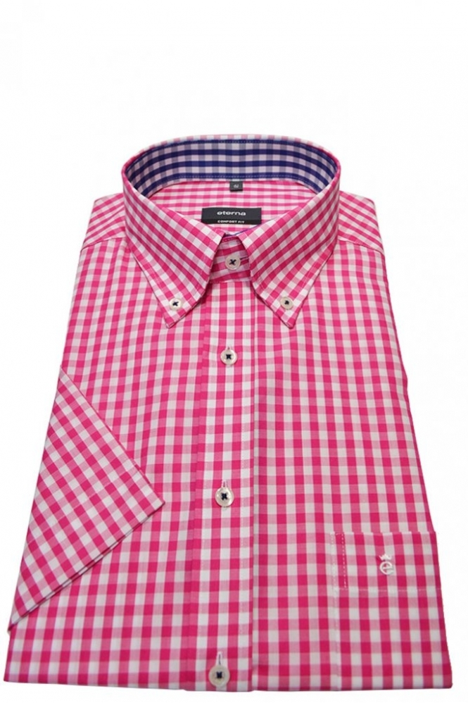Eterna Casual Eterna Short Sleeved Gingham Check Shirt Pink Check ...