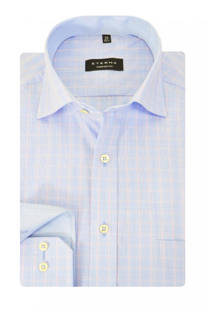 Eterna Casual Shirt Blue/Pink Window Pain Check