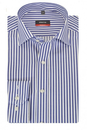 Eterna Modern Fit Cut Away Collar Striped Shirt