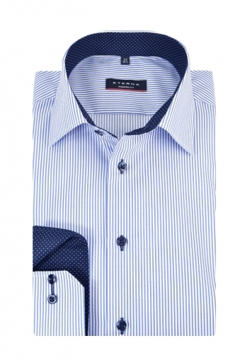 Eterna Modern Fit Long Sleeve Casual Shirt Blue/White Stripe