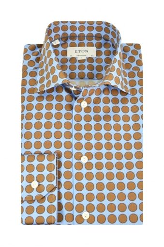 Eton Contemporary Fit Shirt Brown Spot