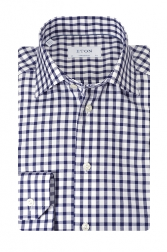 Eton Contemporary Fit Shirt Navy Check