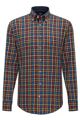 Fynch-Hatton Long Sleeve Button Down Multi Colour Check 65a319a3d33e