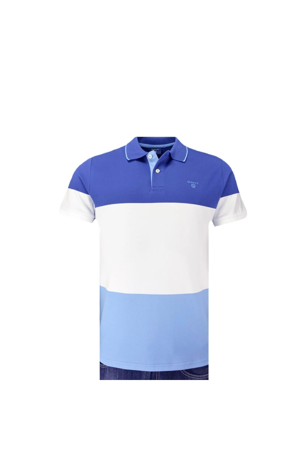 77a3f095489 Gant 3 Colour Stripe Pique Polo Shirt Blue/White/Sky Blue - Clothing ...