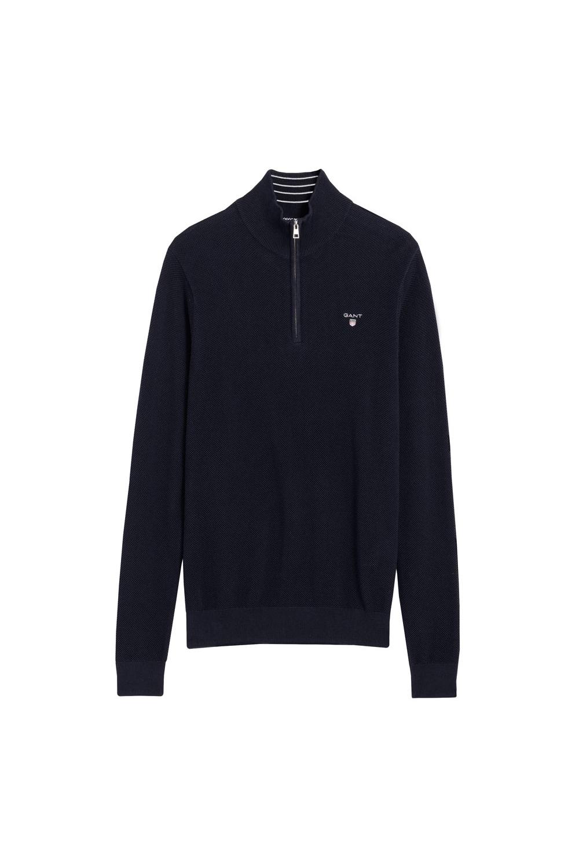 df8dbfcb784 Gant Half Zip Knitwear In Evening Blue | Michael Stewart Menswear