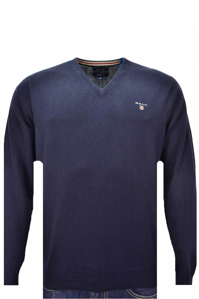 Gant Cotton Wool V Neck Jumper