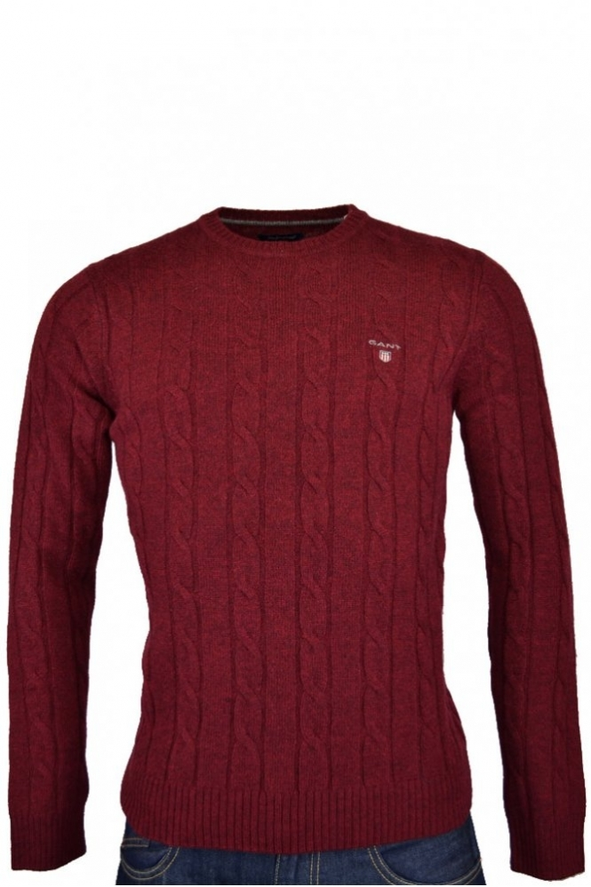 7a806e1197d7ae Gant Lambswool Cable Crew Neck Jumper - Clothing from Michael ...