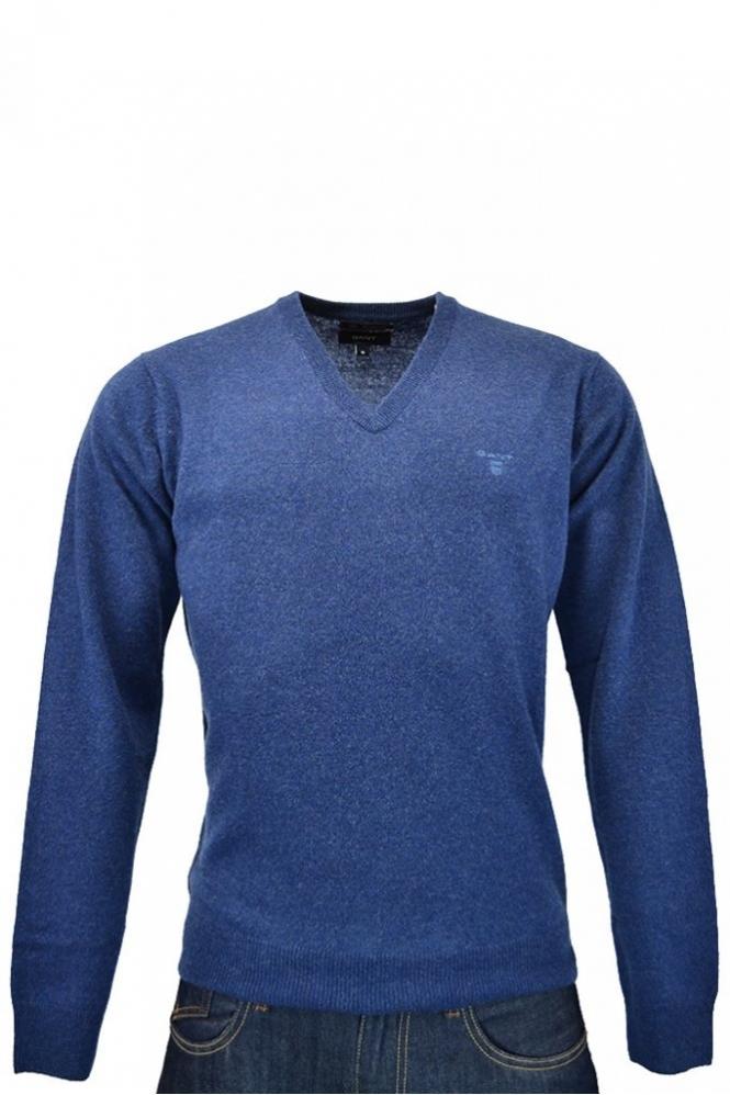 693ade00c5e591 Gant Gant Lightweight Lambswool V-neck Jumper Dark Blue Melange