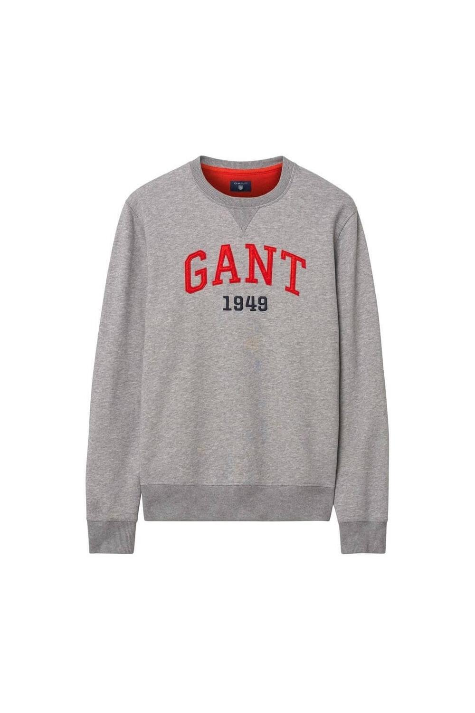 Gant Graphic Sweatshirt In Grey Melange 2046037 93 Michael Stewart