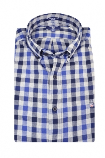 Gant Nordic Plaid Gingham Regular Fit Long Sleeve Shirt Grey Multi Check