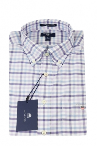 Gant Oxford Regular Fit Long Sleeved Shirt Lilac Pastel Check