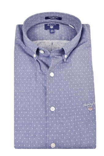 Gant Tech Prep Twill Dobby Regular Fit Long Sleeve Shirt Blue Patterned