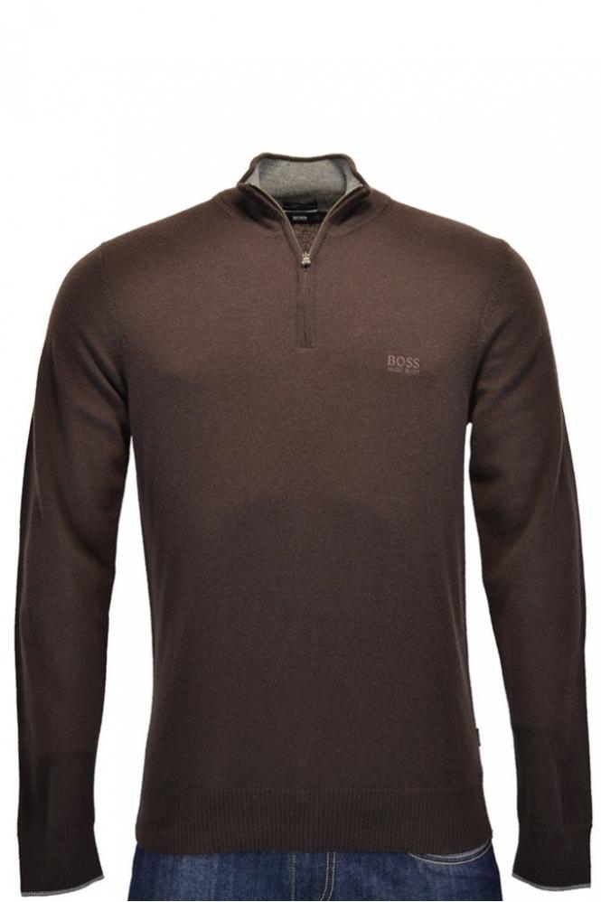 b2238f9219d9a2 Hugo Boss Black Benders Half Zip Jumper Dark Brown - Clothing from ...