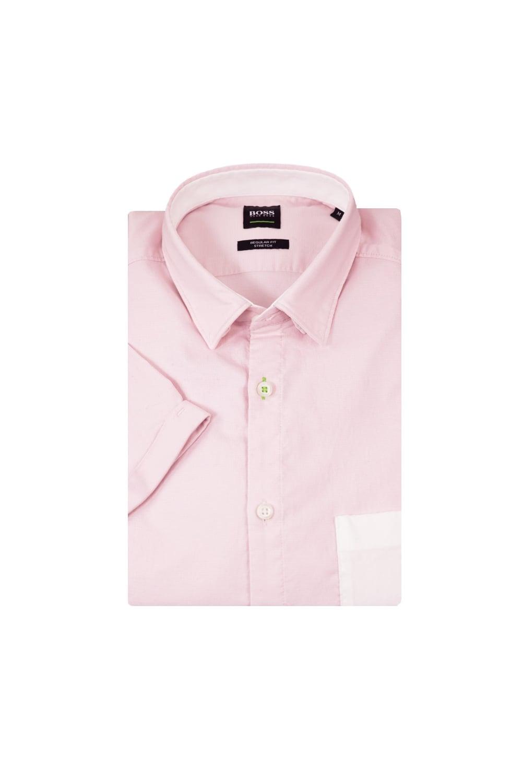 Hugo boss green bayni r short sleeved shirt light pastel for Pastel pink dress shirt