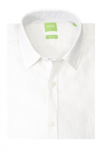 Hugo Boss Green C-Barbu Regular Fit Linen Long Sleeve Shirt