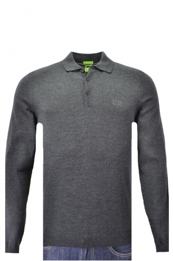 Hugo Boss Green C-camus Long Sleeved Knitted Polo Knitwear