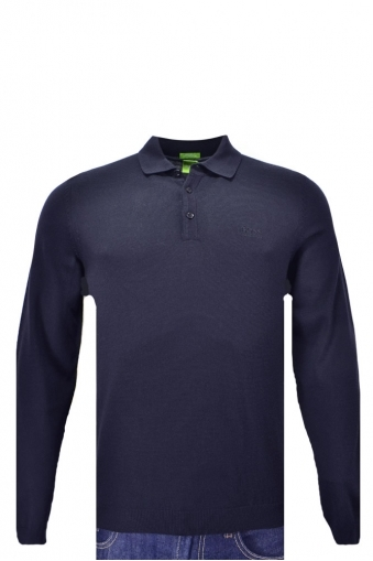 Hugo Boss Green C-camus Long Sleeved Knitted Polo