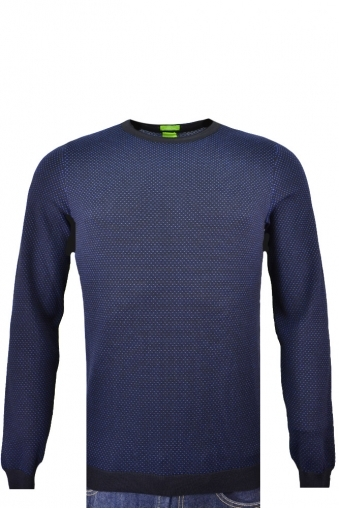 Hugo Boss Green C-conny Slim Fit Crew Neck Jumper Navy Spot