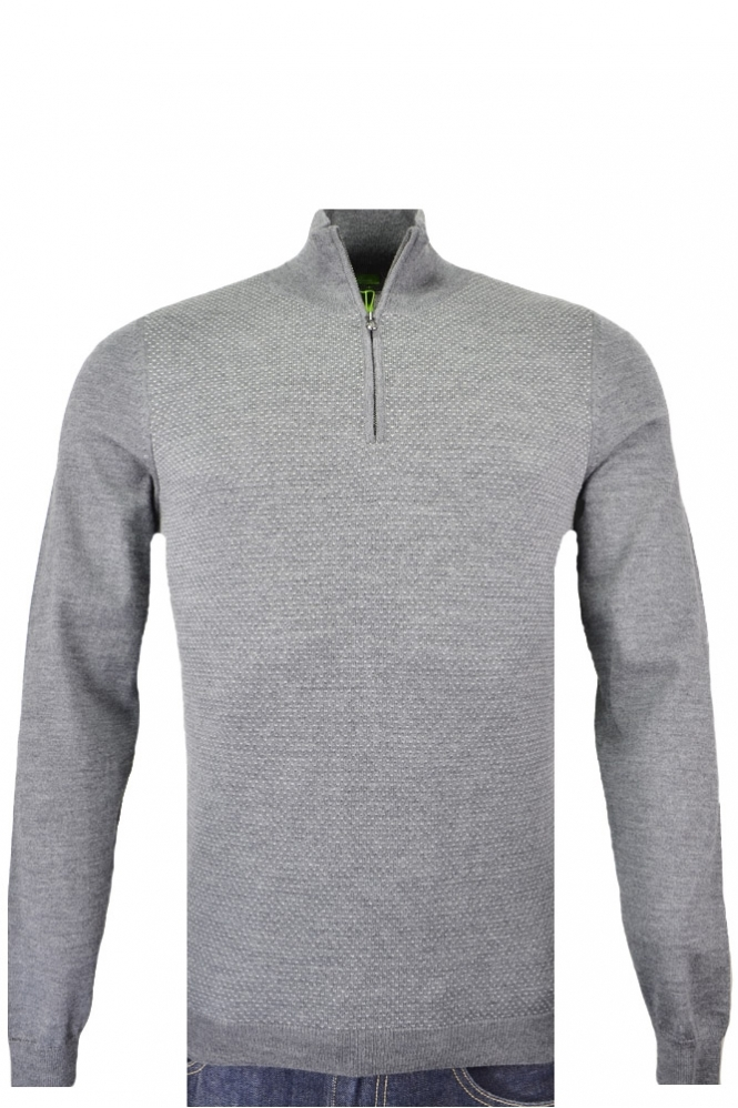 Hugo Boss Green C-corin Half Zip Slim Fit Knitwear