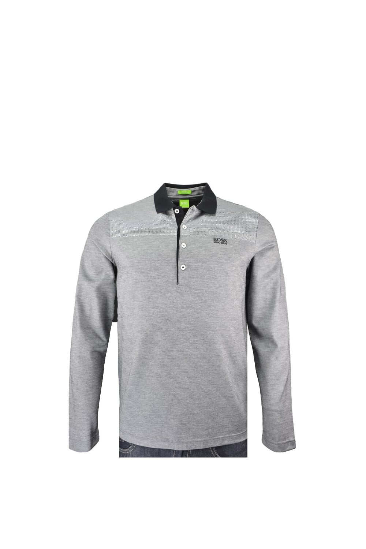 Hugo Boss Green C-Pirona Long Sleeve Polo Shirt Grey