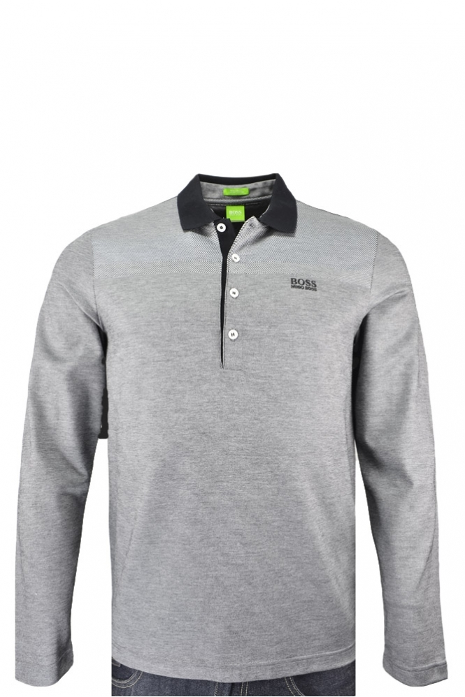 845460cbb Hugo Boss Green C-Pirona Long Sleeve Polo Shirt Grey - Clothing from ...