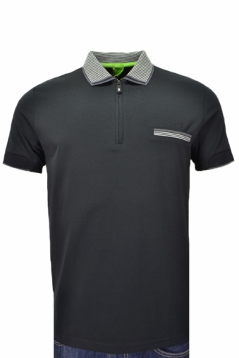 Hugo Boss Green Modern Fit Phillix Polo Shirt Black